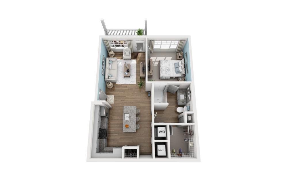 1A-1 - 1 bedroom floorplan layout with 1 bath and 759 square feet.