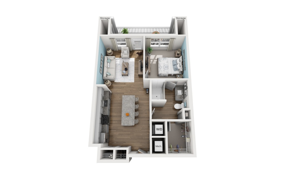 1A - 1 bedroom floorplan layout with 1 bath and 747 square feet.
