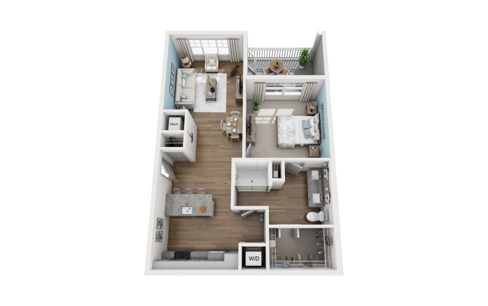 1B - 1 bedroom floorplan layout with 1 bath and 896 square feet.