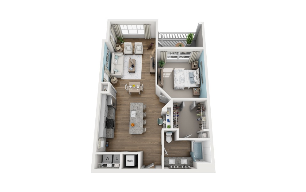 1C - 1 bedroom floorplan layout with 1 bath and 902 square feet.