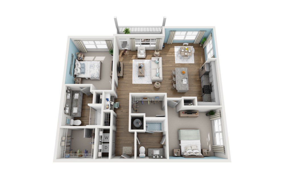 2A - 2 bedroom floorplan layout with 2 baths and 1339 square feet.