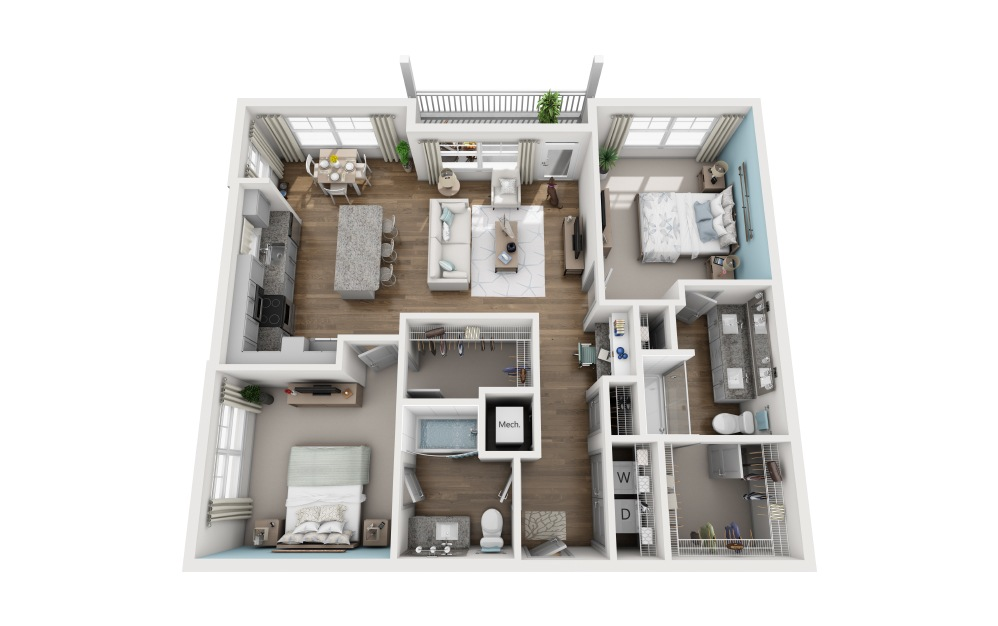 2C - 2 bedroom floorplan layout with 2 baths and 1194 square feet.