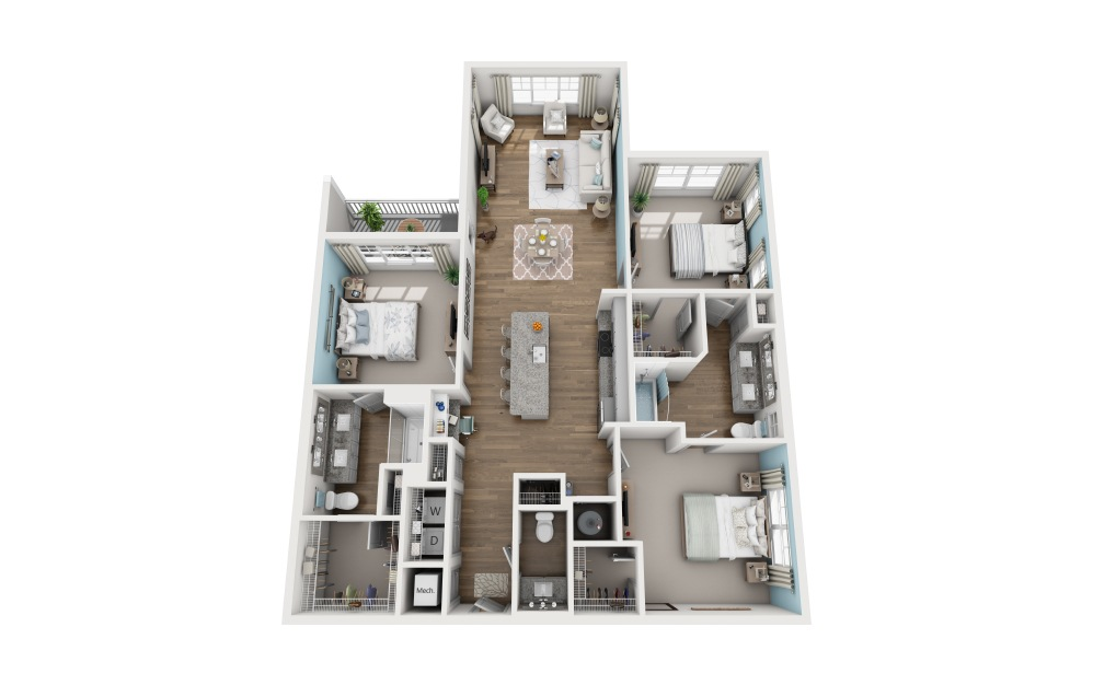 3A - 3 bedroom floorplan layout with 2.5 baths and 1659 square feet.